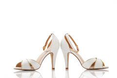 Pair of white women shoes isolated over white Royalty Free Stock Image