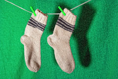Pair of white wool socks Stock Image