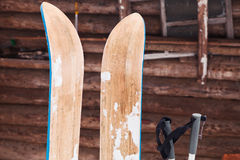 Pair of wide wooden hunting skis Stock Images