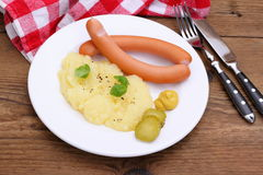 Pair of wiener sausage with mashed potatoes, mustard Stock Photography