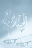 Pair of wine glasses close up zoom view Stock Images
