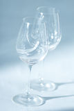 Pair of wine glasses in diagonal close up zoom view Royalty Free Stock Images