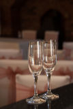 Pair of wine glasses ready for a celebration, but empty Stock Photos