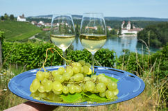 Pair of wineglasses against Rhine river Royalty Free Stock Photos