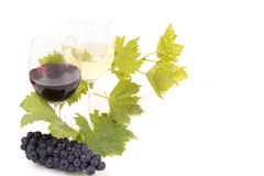 Pair of wineglasses and bunch of grapes. In white Royalty Free Stock Photos