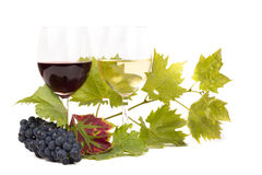 Pair of wineglasses and bunch of grapes. In white Stock Photo