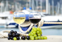 Pair of wineglasses and grapes Royalty Free Stock Photo