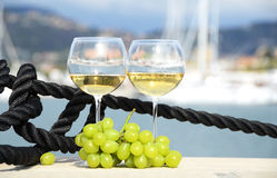 Pair of wineglasses and grapes Royalty Free Stock Image