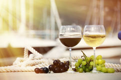 Pair of wineglasses and grapes Royalty Free Stock Photography