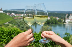 Pair of wineglasses. Rheinau, Switzerland Royalty Free Stock Photography