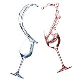 Pair of wineglasses smashing heart shape Stock Images
