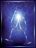 Pair of wineglasses and sparks on Christmas Stock Photos