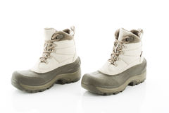 Pair of winter boots against white background Stock Photography