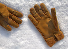 Pair of winter sheepskin gloves Royalty Free Stock Image