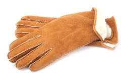 Pair of winter sheepskin gloves Stock Photography