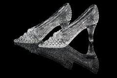 Pair of woman crystal shoes Stock Images