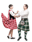 The pair woman and man dancing Scottish dance Royalty Free Stock Photography