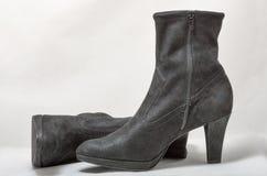 Pair of women autumn black nubuck shoes on white Royalty Free Stock Photos