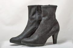 Pair of women autumn black nubuck shoes on white Stock Photo