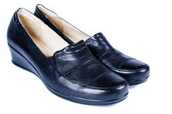 Pair of women black shoes isolared Stock Image
