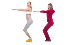 Pair of women doing exercises Royalty Free Stock Images
