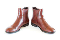 Pair women's leather boots Royalty Free Stock Photos