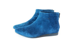 Pair women`s suede boots Stock Photos