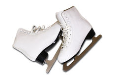 Pair of women's white figure ice skates isolated on white backgr. Ound Stock Photography