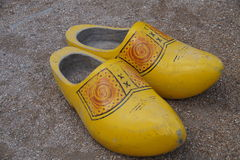 Pair of wooden shoes (clogs) - klompen Stock Image