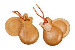 A pair of  wooden spanish castanets Royalty Free Stock Images