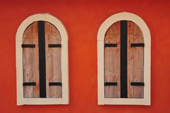Pair of wooden windows Stock Photo