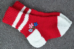 Pair wool knitted socks Stock Images