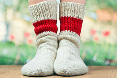 Pair of wool knitted socks Royalty Free Stock Photos