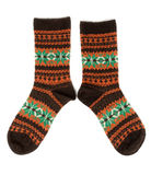 Pair of wool socks with a pattern. Isolate on white stock photos