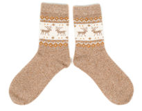 Pair of wool socks with a pattern deer Royalty Free Stock Photo
