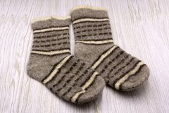 Pair of wool socks on white background . royalty free stock photos