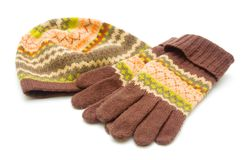 Pair woolen gloves and cap Royalty Free Stock Photo