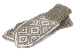 A pair of woolen knitted mittens Royalty Free Stock Photo