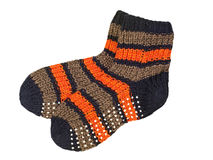 Pair of woolen striped socks. Stock Photo