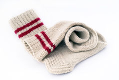 Pair of woollen hand-made socks Royalty Free Stock Photography