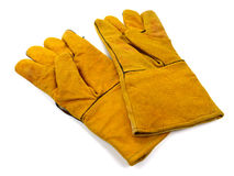 Pair of work gloves isolated on white background. Pair of work protective egloves isolated on white background stock photography