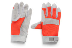 Pair of work protection gloves, red and gray Stock Photos