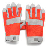 Pair of work protection gloves, red and gray Royalty Free Stock Images