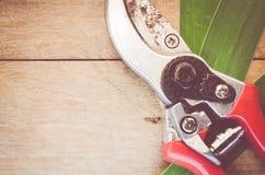 pair of worn garden scissors close up Stock Photos