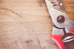 pair of worn garden scissors close up Royalty Free Stock Image