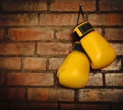 Pair of yellow boxing gloves Royalty Free Stock Photo