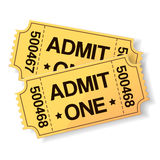Pair of yellow cinema tickets Royalty Free Stock Image