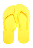 Pair of yellow flip flops. Cutout Royalty Free Stock Photography