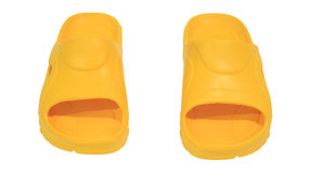 Pair of Yellow Flip Flops isolated Royalty Free Stock Images