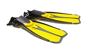 Pair of yellow flippers stock photos